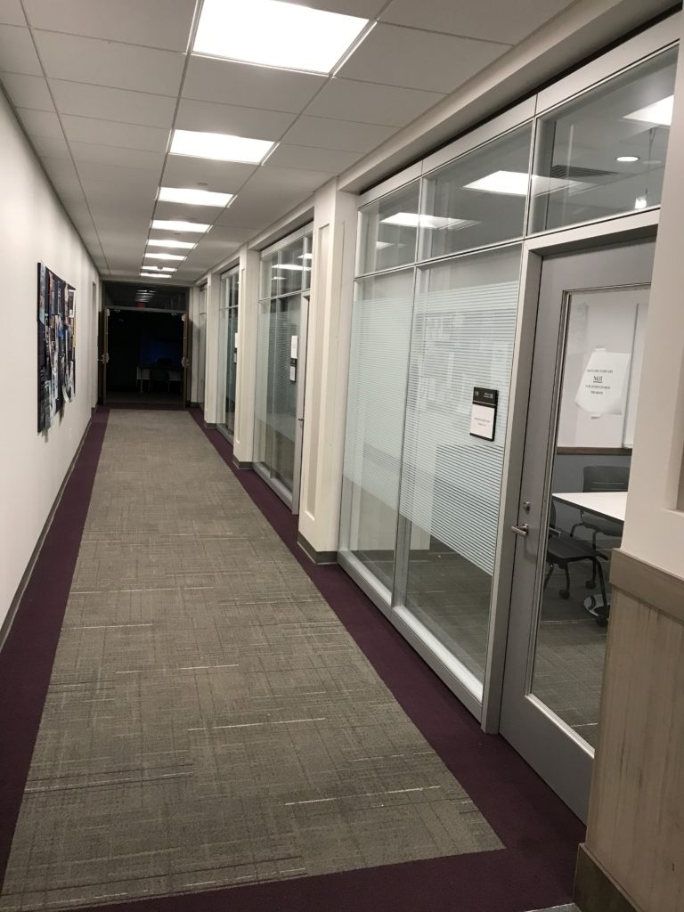 MAC Hallway in Baldwin - Computer Lab, Community Room, & Seminar Room are down this hall